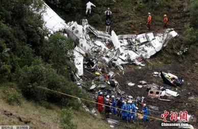 载巴西球员飞机坠毁 遇难者遗体被找到